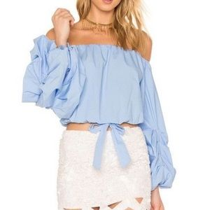 Off the shoulder blue top